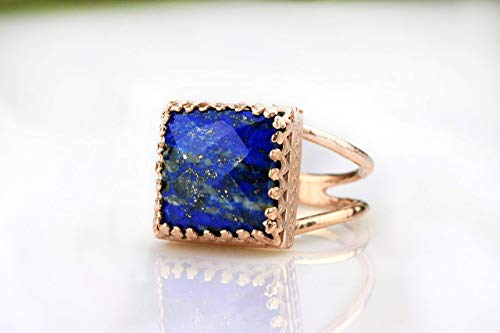 Anemone Jewelry 14K Rose Gold Lapis Lazuli Ring - Rose Gold Ring For Weddings, Birthdays, Cocktails, Other Special Occasions - 12 Mm Lapis Ring (Jewelry 14k Gold Lapis Ring)