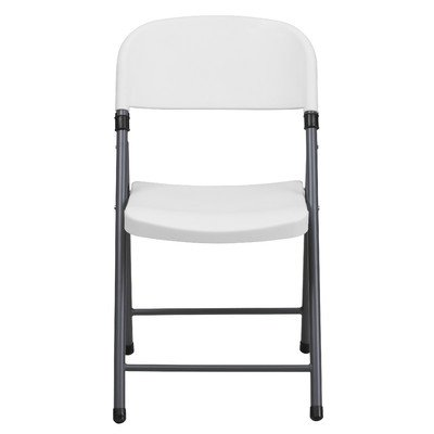 Plastic Folding Chair with Charcoal Frame [Set of 6] Color: White by Flash Furniture