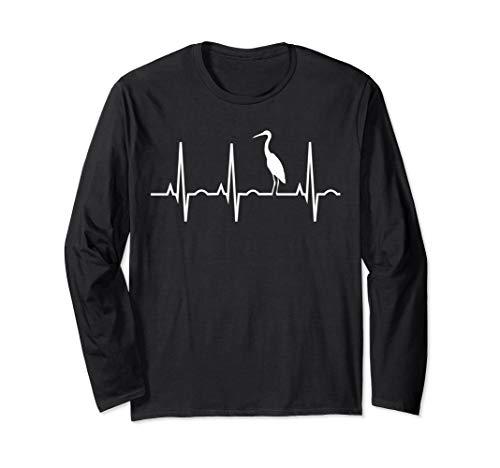 Great Blue Heron Heartbeat Long Sleeve Shirt for Birders