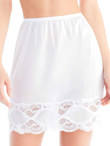 - Ilusion 1017 - Women's Classic Lace Hem Skirt Slip (White, Medium 18 Inch Length)