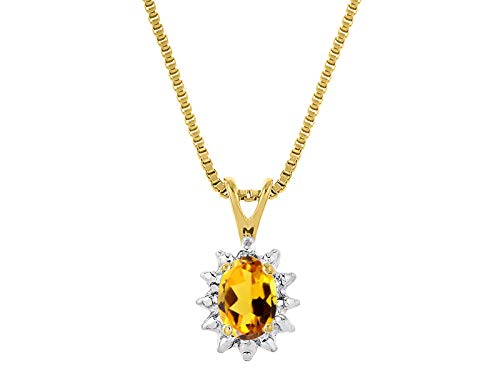 RYLOS Simply Elegant Beautiful Yellow Topaz/Citrine & Diamond Pendant Necklace - November Birthstone