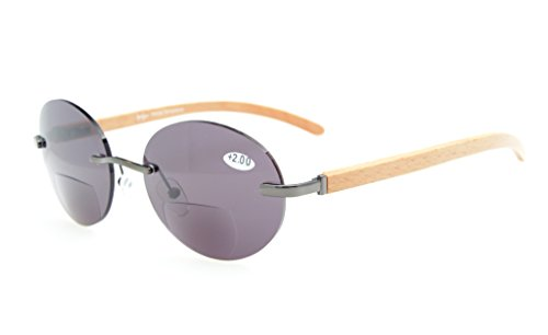 Eyekepper Spring Hinges Wood Arms Rimless Round Bifocal Sunglasses Gunmetal/Grey Lens - Round Bifocal Glasses