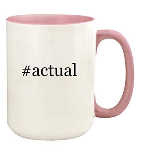 #actual - 15oz Hashtag Ceramic Colored Handle and Inside Coffee Mug Cup, Pink
