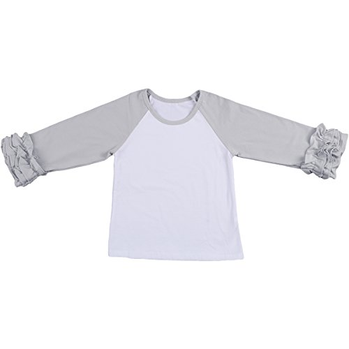 f421abae77e Baby Kid Girl Icing Ruffle Tops Raglan T-Shirt Long Sleeve Tee Shirt Casual  Birthday