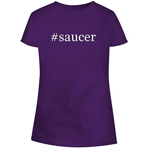 One Legging it Around #Saucer - Hashtag Women's Soft Junior Cut Adult Tee T-Shirt, Purple, XXX-Large