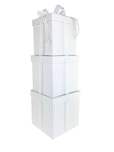 (LAC Design Nested Boxes - Set of 3 for Baby Shower, Weddings, and Any Party (White) )