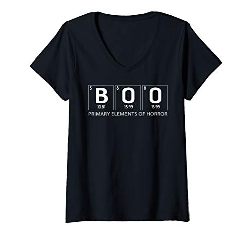 Womens BOO Primary Elements of Horror | Halloween Science chemistry V-Neck T-Shirt]()