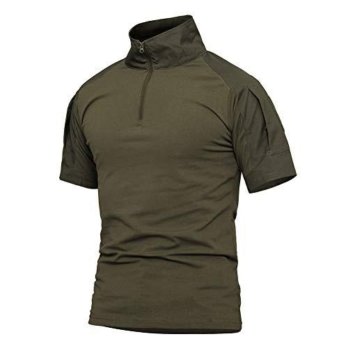 Labeyzon Men's Military Tactical Shirt, Short Sleeve Combat Shirt with 1/4 Zipper (Army Green 1, XX-Large)