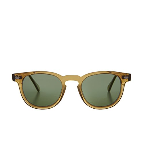 Translucent Amber James Dean Style Horn Rim Sunglasses with Green Lens - - Jfk Sunglasses
