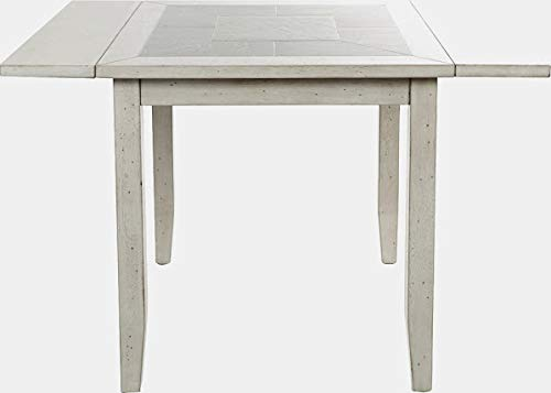Wood Base Extendable Dining Table with 2 Leaves - Folding Dining Table with Tile Top - Light Gray ()