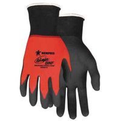 (Memphis Gloves Large Ninja® BNF 18 Gauge Black Breathable Nitrile Foam Palm And Fingertip Coated Work Gloves With Red Seamless Knit Nylon And Spandex® Liner)