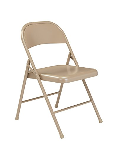 (4 Pack) National Public Seating 901 Commercialine Steel Folding Chair, Beige ()