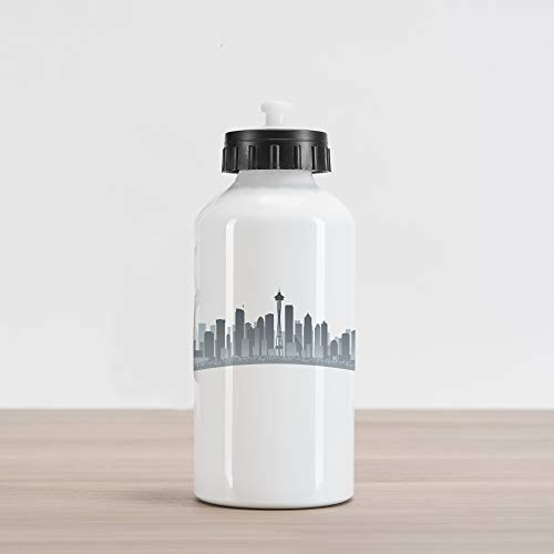 Lunarable Seattle Aluminum Water Bottle, Silhouette of Washington City Tourist Attraction Space Needle in The Middle, Aluminum Insulated Spill-Proof Travel Sports Water Bottle, Grey and Pale Grey