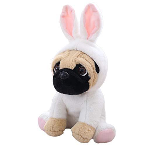 B-CREATOR Pug  Stuffed Animal Baby Cuddly Fluffy Dog Doll Sharpei Cosplay Plush Toy Home Bedding Decor for Kids - Rabbit