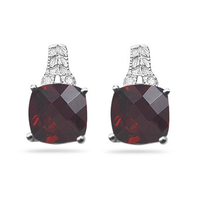 0.03 Cts Diamond & 4.60-5.01 Cts Garnet Antique Filigree Earrings-14KW Gold (Earrings Diamond Antique Stud)
