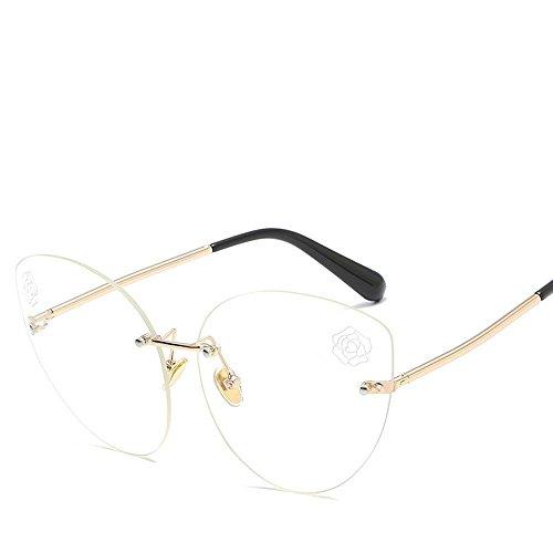 Aoligei L'Europe et les États-Unis fashion réflectorisé sans frame lunettes de soleil tendance lunettes de soleil femme personnalité couleur lumineuse s Unettes solaires miroir plat 4ywODc