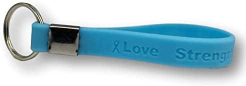 5 Light Blue Prostate Cancer Awareness Keychains - Medical Grade Silicone - Latex and Toxin Free (5 High Quality Keychains)
