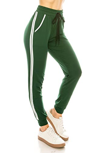 ALWAYS Women Joggers Lounge Sweatpants - Super Light Soft Solid Pockets Drawstrings Line Striped Pants Hunter Green White 2XL/3XL ()