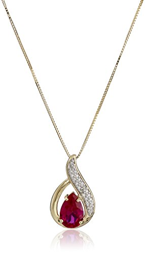 14k Yellow Gold Created Ruby and Diamond Accent Teardrop Pendant Necklace, 18
