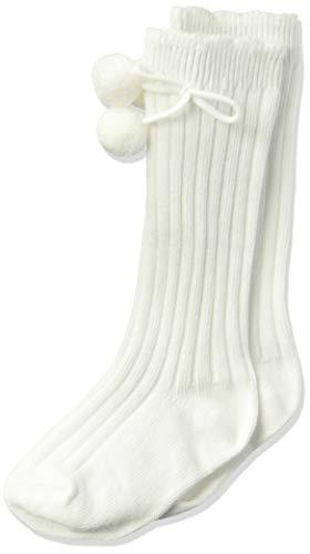 Jefferies Socks Girls' Little Rib Pom Knee High Socks 1 Pair Pack, White, Toddler