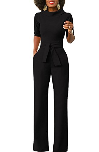 KISSMODA Womens Elegant Wide Leg Work Jumpsuits Long Fitted Romper Pants Half Sleeve with Belt (Medium, Black) by KISSMODA