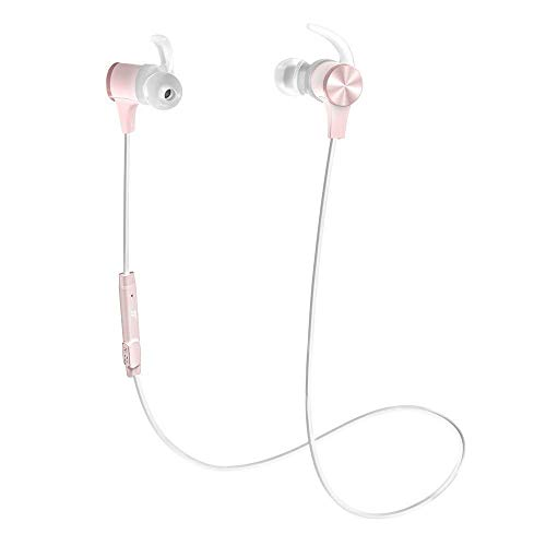 TaoTronics Bluetooth Headphones Wireless 5.0 Magnetic Earbuds Snug Fit for Sports with Built in Mic IPX6 Waterproof, aptX Stereo, 9 Hours Playtime Pink