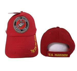 - JumpingLight USMC Marines Marine Corps Red The Few The Proud Gold Letter Embroidered Cap Hat for Home, Official Party, All Weather Indoors Outdoors
