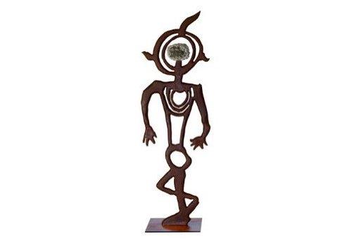 WM Lofgren Jane Cast Iron Petroglyph Sculpture with Steel Base