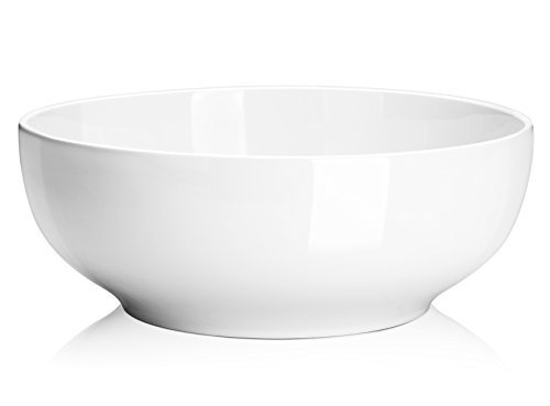 DOWAN 2-1/2 Quart Porcelain Serving Bowls - 2 Packs Salad/Pasta Bowl Set, White, Stackable