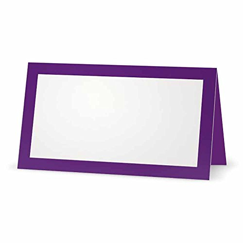 (Purple Place Cards - Flat or Tent - 10 or 50 Pack - White Blank Front with Solid Color Border - Placement Table Name Seating Stationery Party Supplies - Occasion or Dinner Event (10, Tent Style))