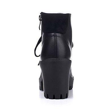 ZJJ Tacco alto solido donna chiuso punta tonda cerniera stivali , us6 / eu36 / uk4 / cn36