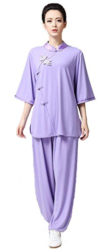 ZooBoo Women's Chinese Traditional Tai Chi Uniform Kung Fu Clothing (XL, Purple)