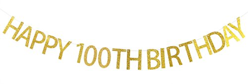WeBenison Happy 100th Birthday Banner Gold Glitter Party Bunting - 100th Birthday Party Decorations -