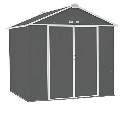 - Arrow EZEE Shed High Gable Steel Storage Shed, Charcoal/Cream Trim, 8 x 7 ft.