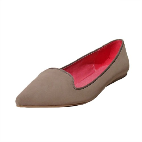 Qupid Mujeres Site03 Nubuck Pointy Toe Loafer Flat Taupe