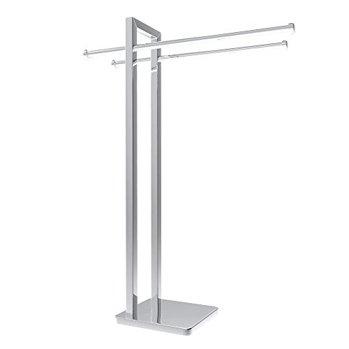 Freestanding Towel Rack - Stainless Steel Holder Stand for Towels with Double Hanging Bar for Bathroom Organization by Lavish Home (Chrome) ()