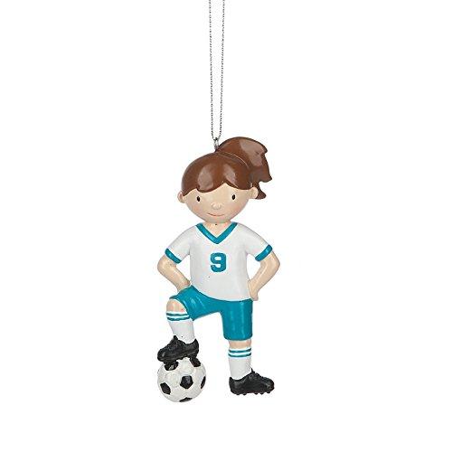Girl Soccer Player Resin Stone Christmas Ornament Figurine by - Beckham Photo Family