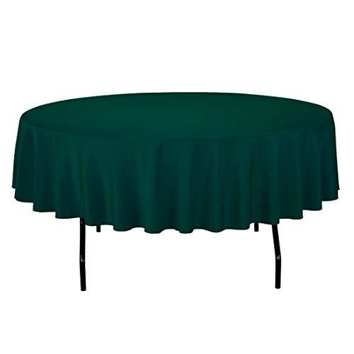 LinenTablecloth 90-Inch Round Polyester Tablecloth Hunter Green