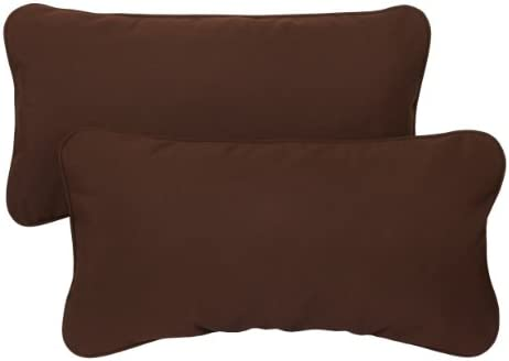 Mozaic AZPS2849 Indoor Outdoor Sunbrella Lumbar Pillows with Corded Edges, Set of 2, 12 x 24 inches, Canvas Brown
