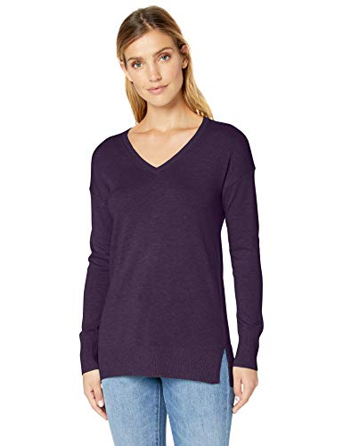 - Amazon Essentials Women's Lightweight V-Neck Tunic Sweater, Purple Heather, XX-Large
