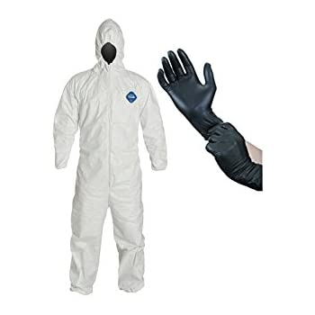 DuPont TY127S Tyvek Protective Coverall with Hood, Elastic Cuffs, Large with InPrimeTime Protective Gloves