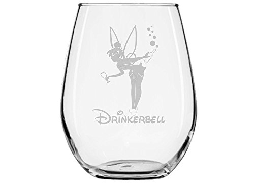 (Fairy Gifts ★ Drinkerbell ★ Fairy Wine Glass ★ Permanently Engraved ★ Birthday Present ★ Funny Movie Themed Gifts ★ Couples ★ Handmade Disney Glass ★ Fairy tales ★ (15oz) Stemless Glass)