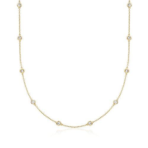 Ross-Simons 1.00 ct. t.w. Bezel-Set Diamond Station Necklace in 18kt Yellow ()