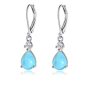 GEMSME 14K White Gold Filled Sterling Silver 7x9mm Teardrop Larimar Gemstone Dangle Earrings for Women