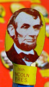 1960s Tin - PRESIDENT PENCIL TOPPER 1960s Vintage Tin Litho - PRESIDENT ABRAHAM LINCOLN- HARD TO FIND