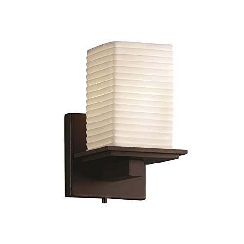 Limoges Antique Sconce - Justice Design Group Limoges 1-Light Wall Sconce - Dark Bronze Finish with Sawtooth Translucent Porcelain Shade