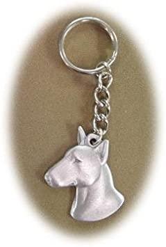 Bull Terrier Keychain Pewter