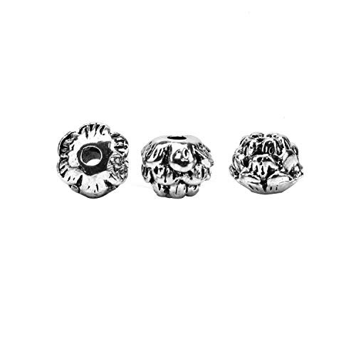 JETEHO 100 Pcs Silver Lotus Flower Spacer Beads Focal Mala Beads Connector for Jewelry Making - Lotus Flower Bead