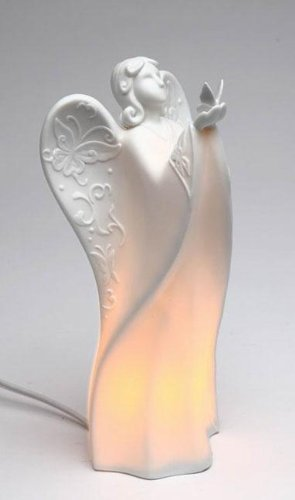Festive ''Angel Holding Butterfly'' White Porcelain Plug-in Night Light