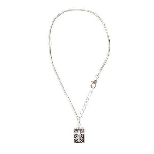 Dicksons Square Shaped Prayer Box Pendant 7.5-8.5 Inch Silver Plated Charm Bracelet in Jewelry Box with Prayer -